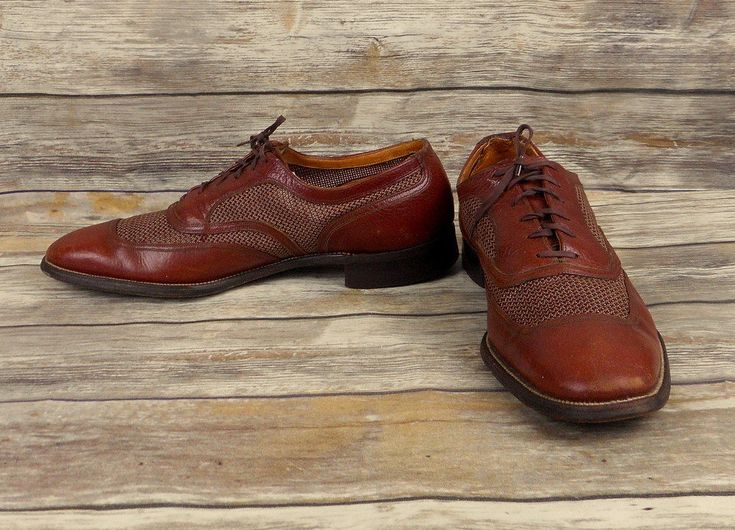 City Club Deluxe Shoes Brown Leather Mens Size 10 Vintage Business Dress Costume #CityClubDeluxe