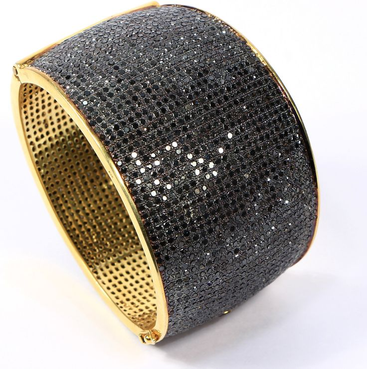 Holiday Special Price Antique style Stylish Oval Broad Women Bangle Cuff .925 Sterling Silver with Gold Plating with 25-line Black Diamonds by AcmeJewels on Etsy