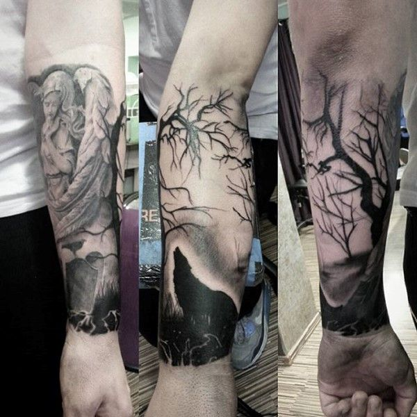 Man Forearm Tattoo Of Wolf Howling Under Tree