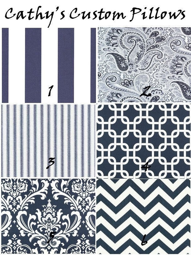 Zach  BLUE CHEVRON CURTAINS Premier Fabric Collection Two Drapery Panels 50 x 63 Navy and White Stripes Lattice. $109.00, via Etsy.