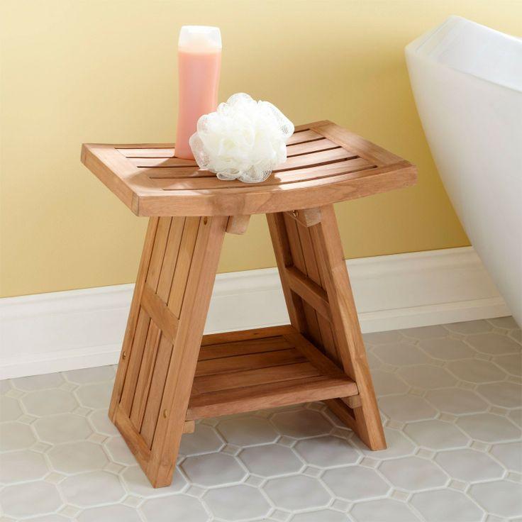 teak asian style shower stool