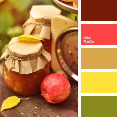 brown and green, brown and yellow, burgundy and brown, colour of a red apple, colour of apple, green colour of greenery, Nina Panina, red and green