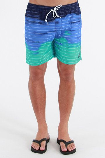 One fine plethora of dip-dye, the Tropicana Boardshorts from Rusty are a medley of aqua blue, with a fine stripe and Rusty branding at the left leg. The pockets are meshed and the waistband's elasticated. One mighty good mix of a boardie, they're even DWR coated so you'll shake off the drench quicker.