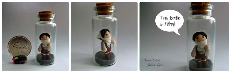 Chibi Levi cleaning a glass bottle. This character from the popular anime Shingeki no Kyojin is made from polymer clay.