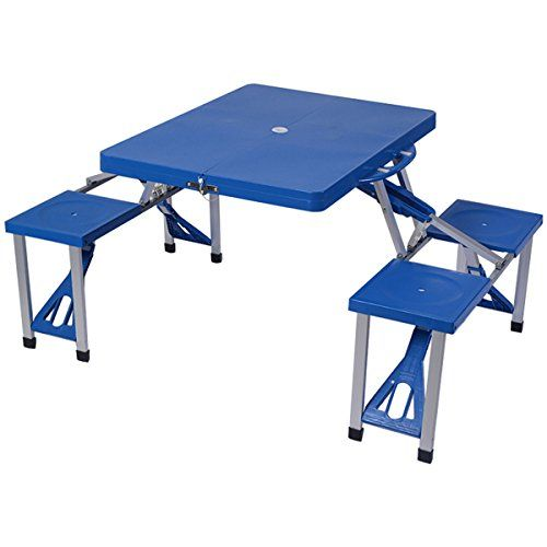 Camping Tables - Giantex Outdoor Foldable Portable Aluminum Plastic Picnic Table Camping w 4 Seats *** Read more reviews of the product by visiting the link on the image.