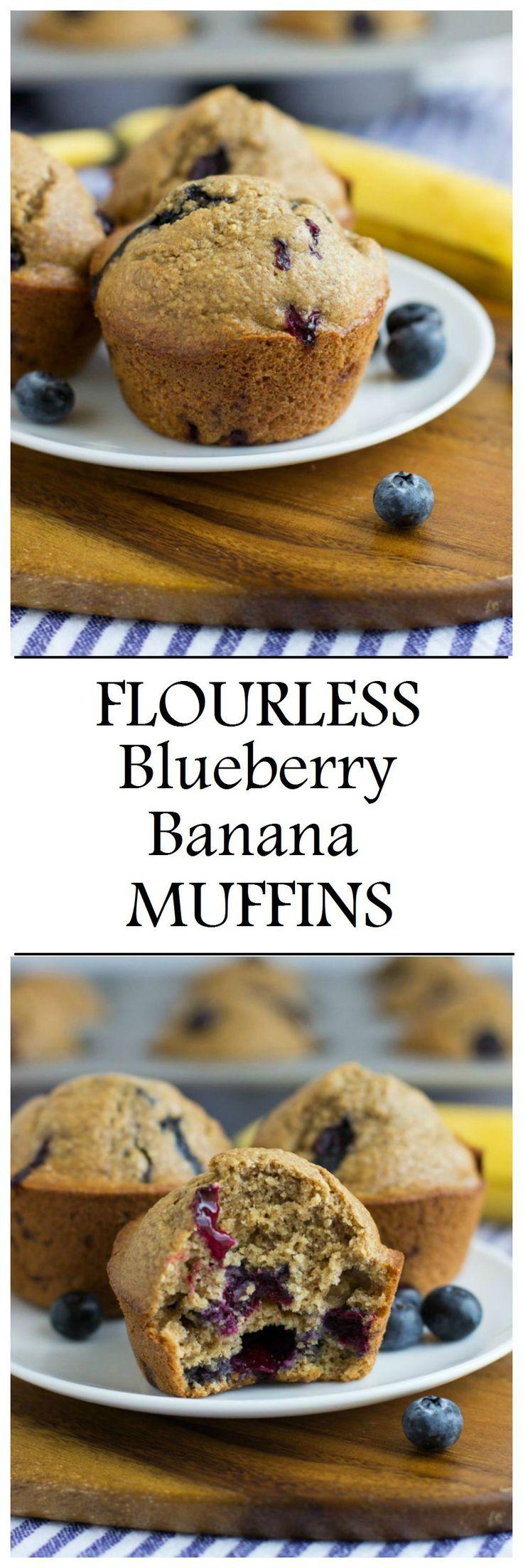 Healthy Flourless Blueberry Banana Muffins- made easy in a blender! #glutenfree #oilfree #dairyfree #refinedsugarfree