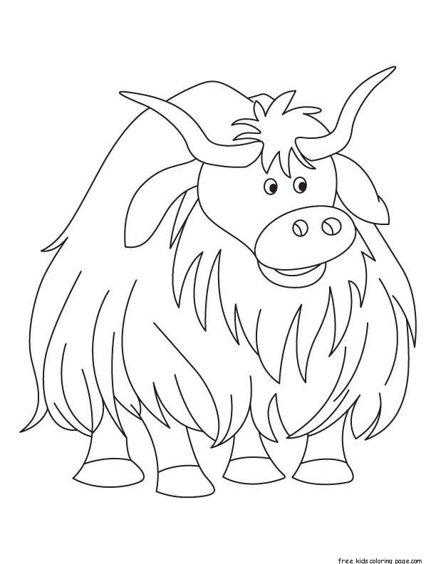 Printbale Yak Coloring Page Cow Coloring Pages Animal Coloring Pages Coloring Pages