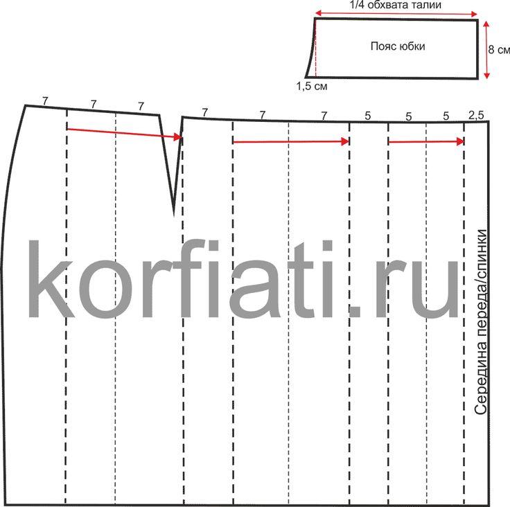 Выкройка юбки с широким поясом - разметка складок