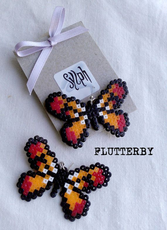 Earrings made of Hama Mini Beads  Flutterby orange by SylphDesigns, €5.00