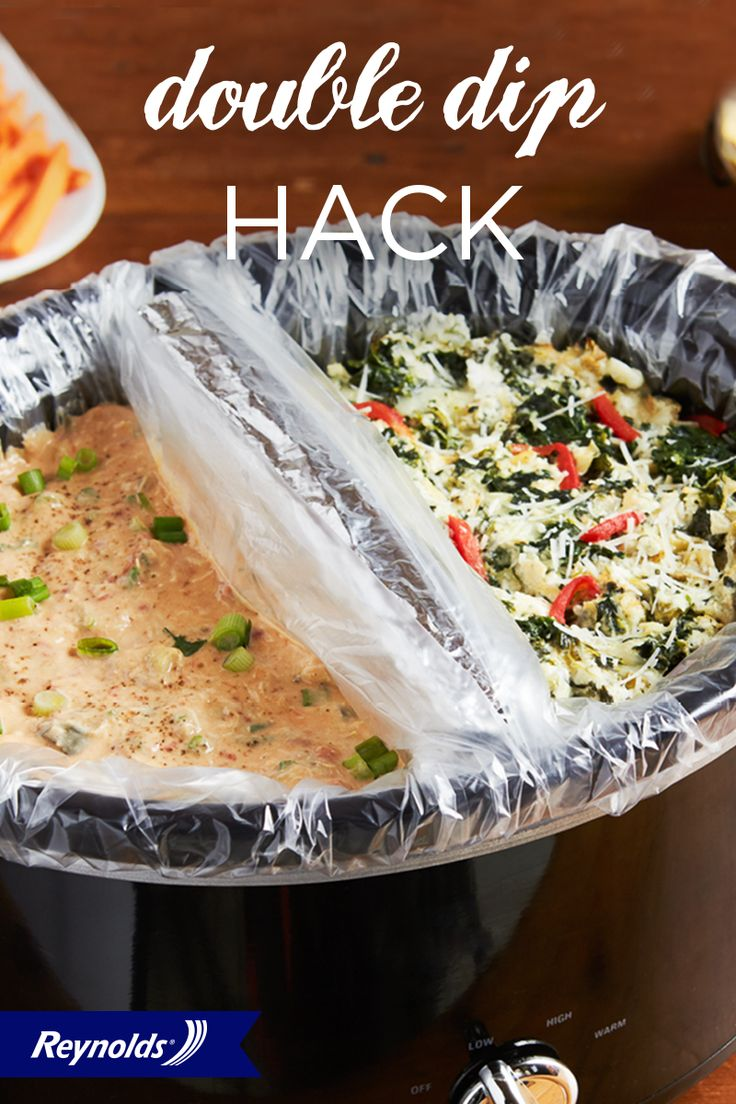 Double down on deliciousness with this Double Dip Hack. We'll show you how to make two dips in one slow cooker so you can satisfy every taste at your tailgate party! All you need is two dips, some Reynolds® Wrap, and two Reynolds® Slow Cooker Liners! They'll make cleanup fast and easy—8 seconds or less, guaranteed—with no soaking or scrubbing.