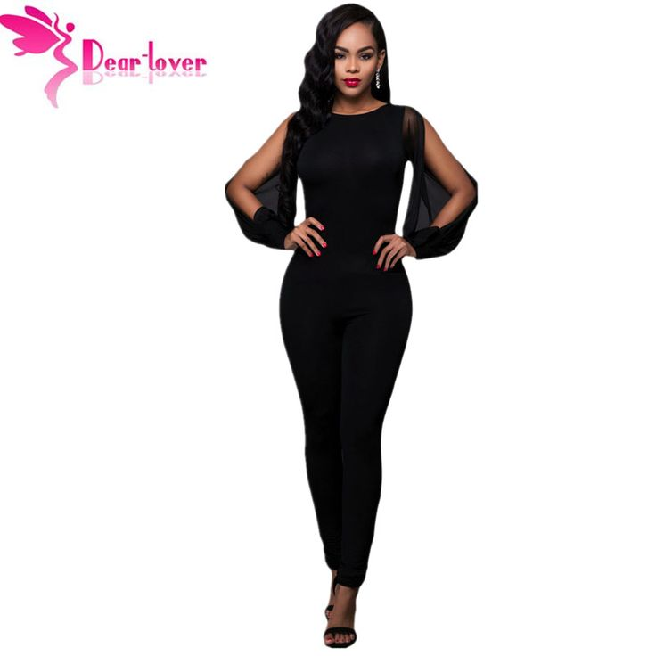 Aliexpress.com : Buy Dear Lover Jumpsuit Long Pants 2016 Autumn Black Sheer Split Long Sleeve Open Back Rompers Womens Bodysuit Overalls Mono LC64141 from Reliable overall suppliers on dearlover Official Store