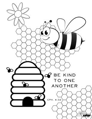 """free printable """"be kind to one another"""" wwwgodmadecolor  sunday school coloring pages"""