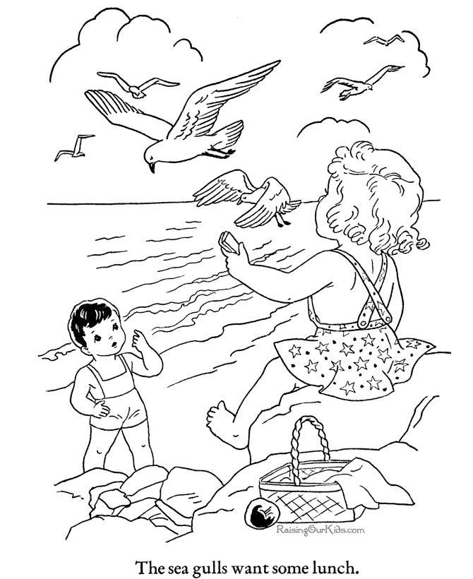 free printable beach color page - Printable Drawing Sheets