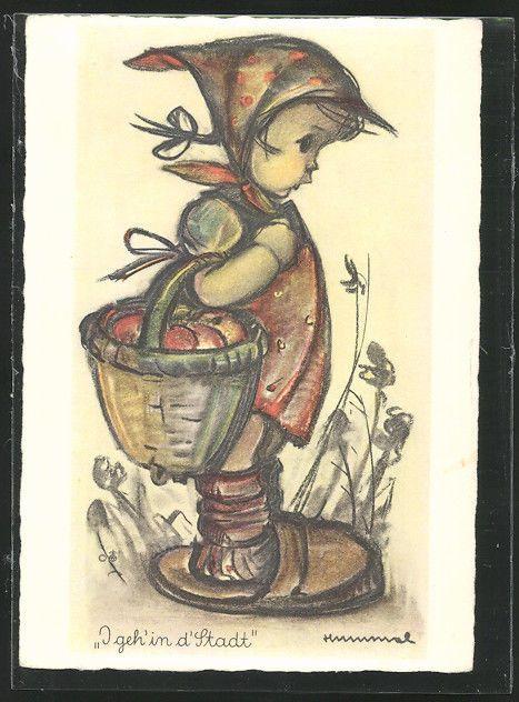Künstler-AK Hummel: I geh´ in d´Stadt, ein kleines Mädchen mit Korb, Kopftuch u in Sammeln & Seltenes, Ansichtskarten, Motive | eBay