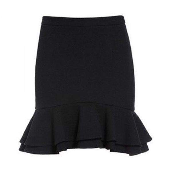 Simple Style Solid Color Elastic Waist Flounce Hem Skirt For Women, BLACK, M in Skirts | DressLily.com