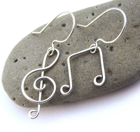 Treble Clef Music Note Earrings  Silver Filled by FantasiaElegance, $14.00