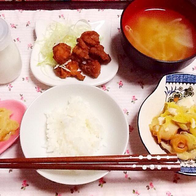 野菜みそ汁 からあげ 豆腐白菜煮 玉ねぎサラダ - 41件のもぐもぐ - 夕飯ヾ(。・ω・。) by lilianhuang