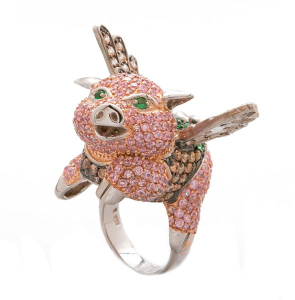 Fern's Flying Pig Cocktail Ring