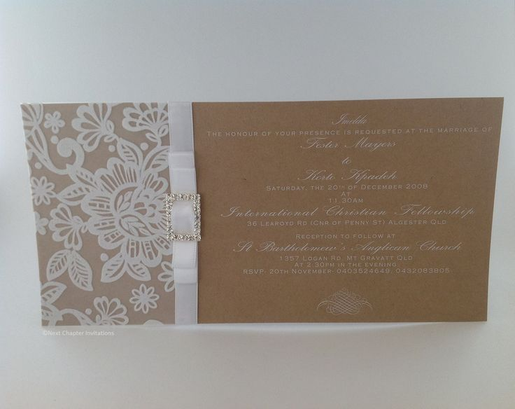 CHRISTELLE An elegant rustic styled invitation using Kraft card with white ink, transparent lace paper and decorated with a double white satin bow and rectangular diamante buckle. PRICE: $5.95 https://www.facebook.com/NextChapterWeddingInvitations