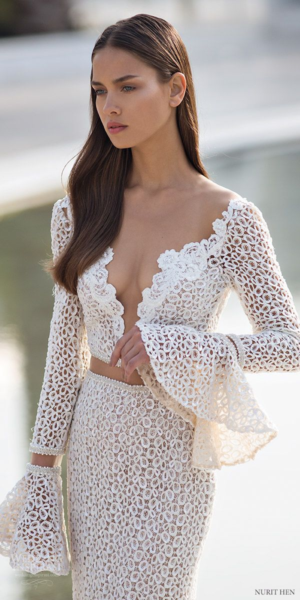 nurit hen 2016 long bell sleeves deep v sheath wedding dress (pw6) mv edgy sexy