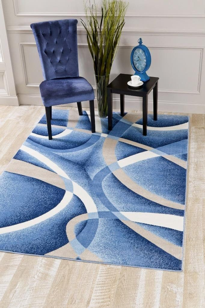 Blue Abstract Modern Contemporary Discount Clearance Area Rugs - Bargain Area Rugs
