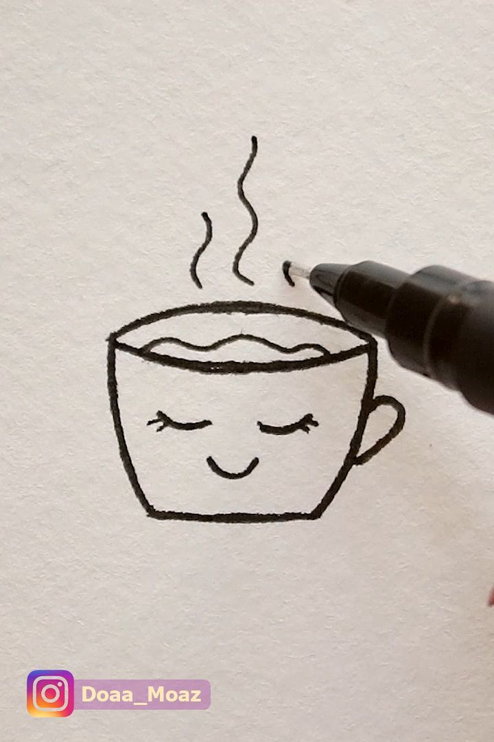 How to draw a cute coffee cup – #Coffee #cup #cute…
