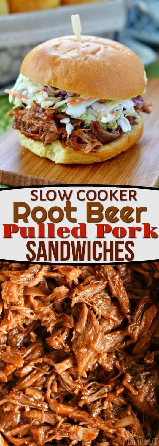 Slow Cooker Root Beer Pulled Pork Sandwiches! Dinner has never been easier or more delicious! Just four ingredients! Great for game day, busy weeknights, and potlucks! // Mom On Timeout #slowcooker #crockpot #sandwich #dinner #easydinner