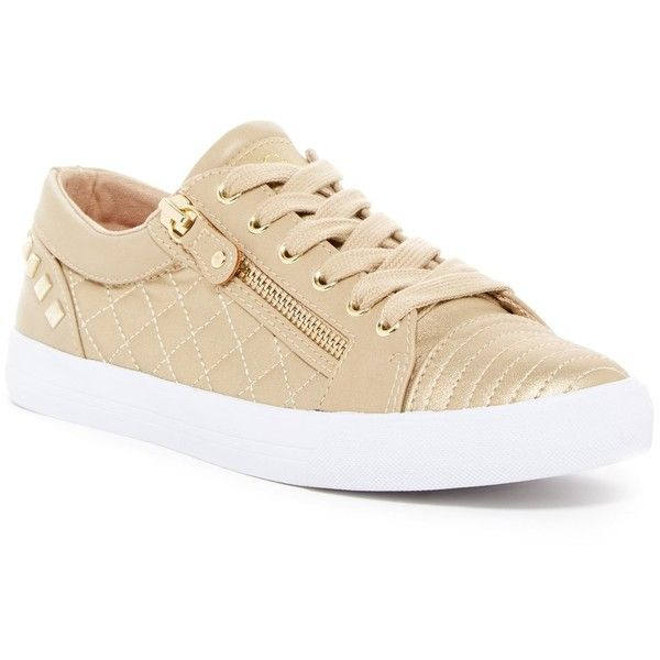 G by GUESS Oolivia Sneaker ($40) ❤ liked on Polyvore featuring shoes, sneakers, stitch shoes, g by guess, lace up shoes, studded shoes and lacing sneakers