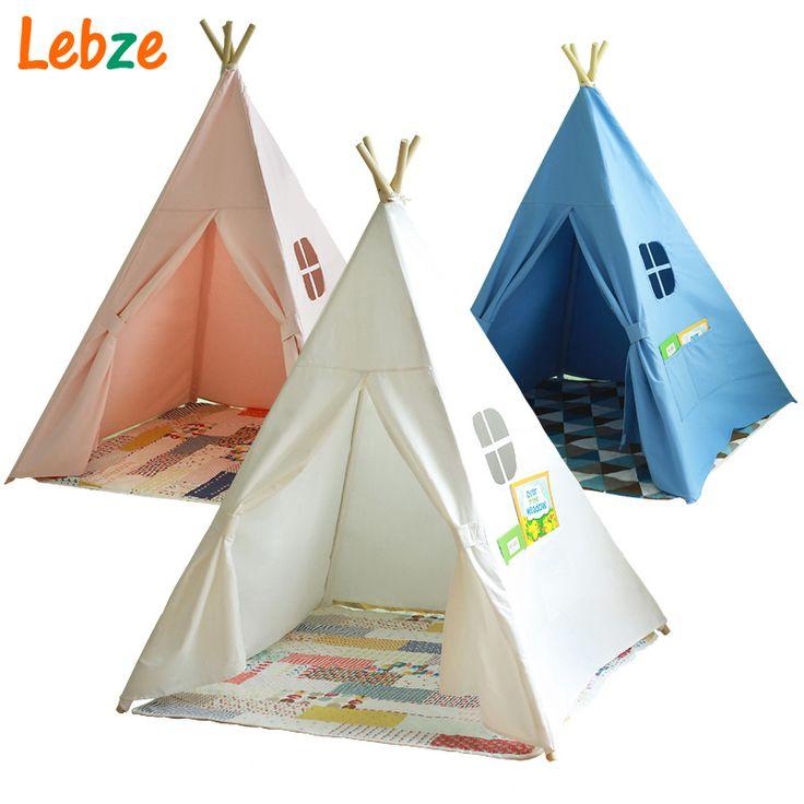 Quattro Poli Bambini Teepees Kids Play Tent Tela di Cotone Teepee Bianco Playhouse per la Stanza Del Bambino Tepee