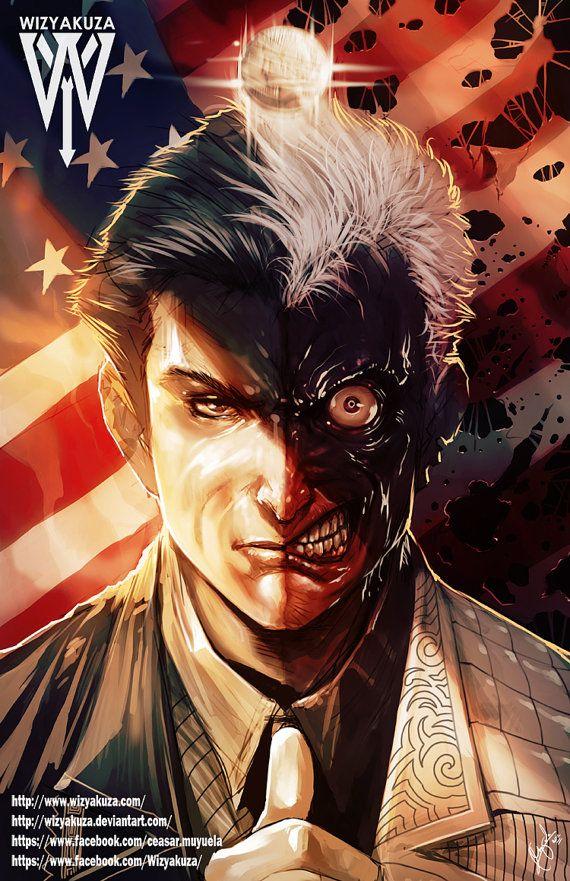 Harvey Dent & Two Face Split  Batman  DC Comics  11 x by Wizyakuza