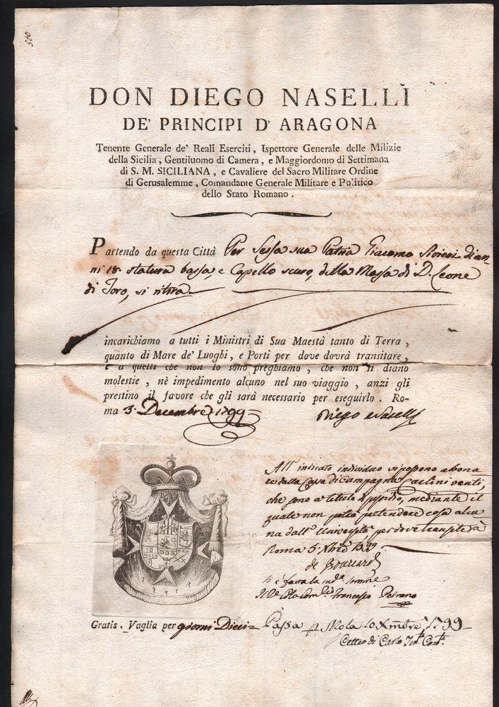 BRIGANTAGGIO FIRMA AUTOGRAFA DI DIEGO NASELLI  E DI DE BOUCARD 3 DICEMBRE 1799
