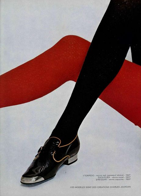 """Black patent leather Charles Jourdan monk """"brogue"""" shoes with metal toe and heel caps and contrasting piping and RED and black tights and duh wow."""