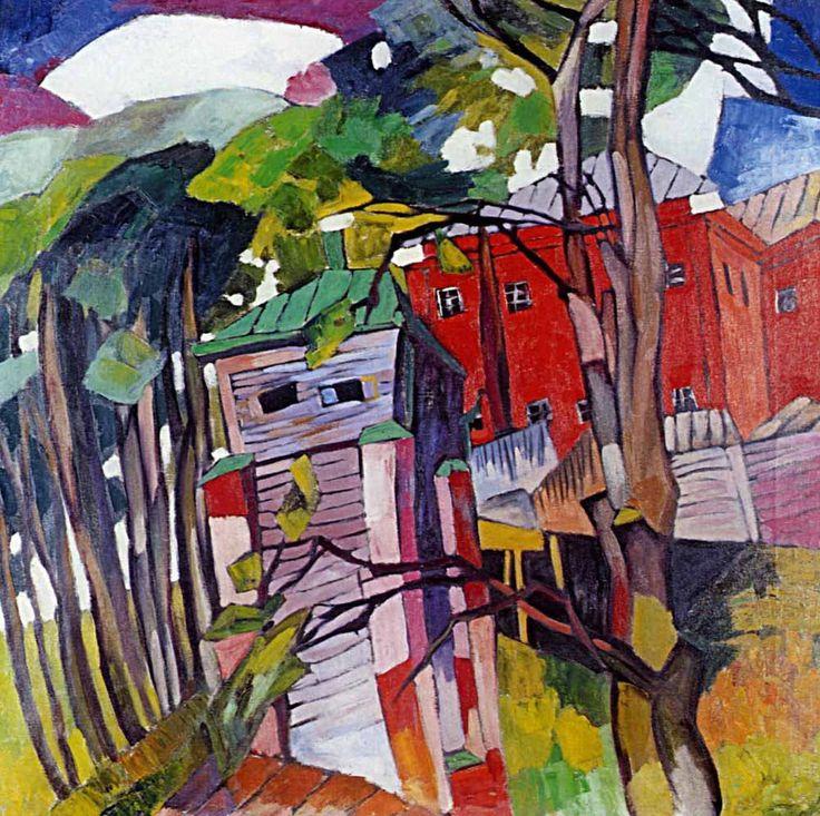 Лентулов Аристарх Васильевич. Пейзаж с красным домом 1917
