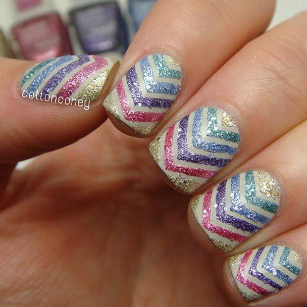 Glitter Nail Design for Short Nails