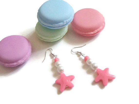 pastel goth earrings kawaii teen pale grunge girl lolita pink sea star mermaid cosplay cosplayer jewelry birthday gift pearl lasoffittadiste