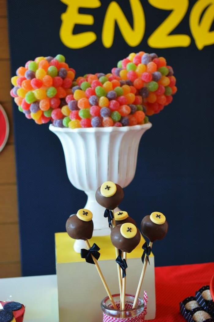 Cute cake pops at a Mickey Mouse 1st Birthday Party via Kara's Party Ideas | Kara'sPartyIdeas.com #MickeyMouseClubhouse #Party #Ideas #Supplies #mickeymouse #cakepops