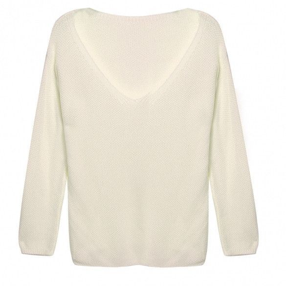 Women Fashion Casual V-Neck Long Sleeve Solid Loose Knitwear Pullover Sweater