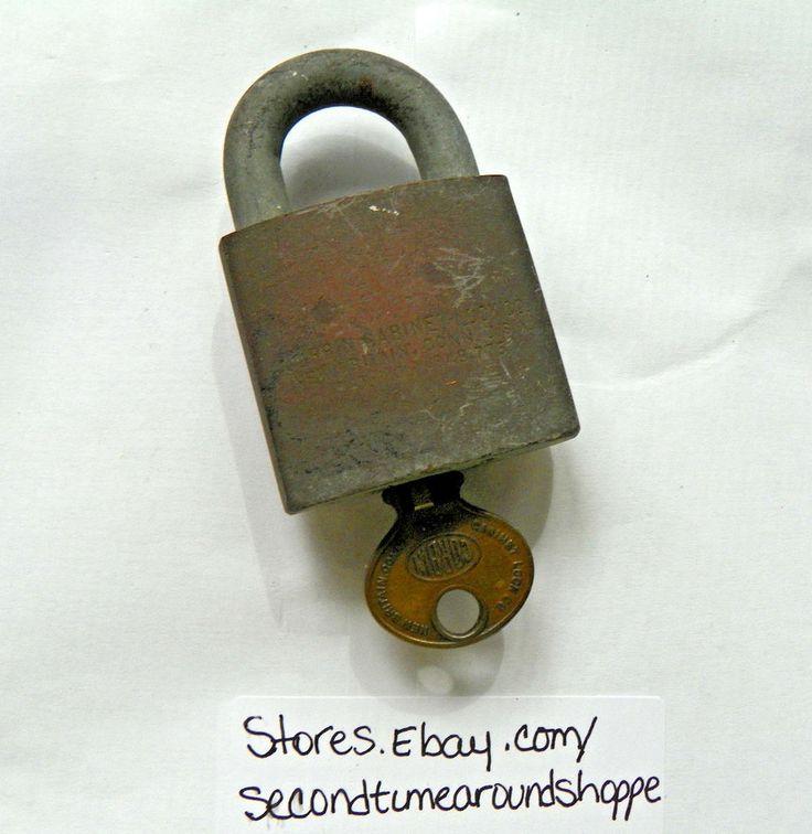 Vintage Corbin Cabinet Lock Co Padlock Lock/Key Case Hardened Steel Pat 1849.775 #CorbinCabinetLockCo