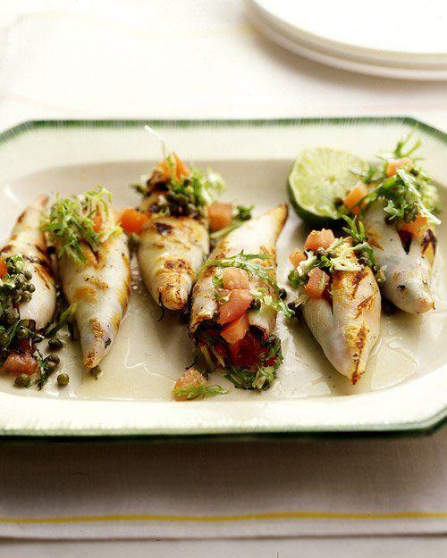 grill ed calamari roasted peppers sauteed calamari with parsley and ...