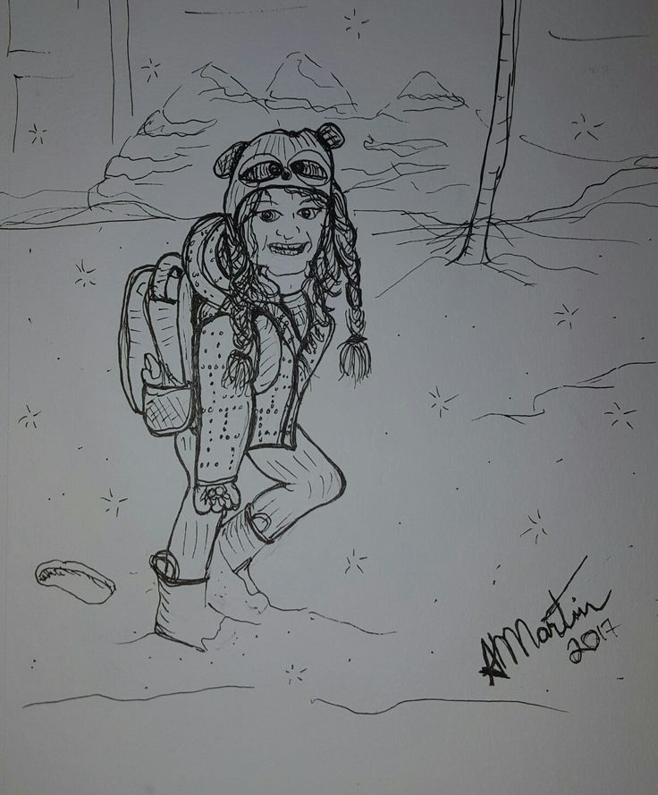 My little raccoon hat daughter walking to school in the snow, inspired by opus daily practice promt about a cartoonist.