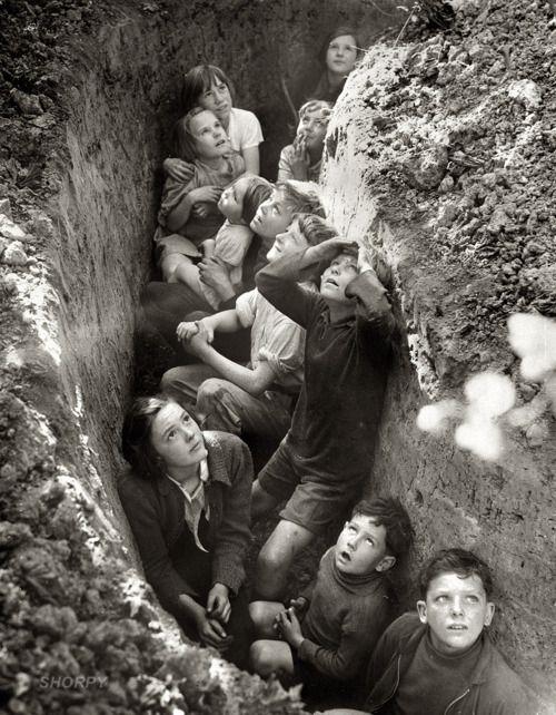 Children in bomb shelter, England, 1940-41