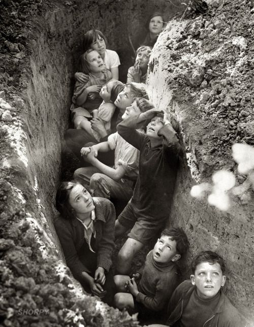 """Battle of Britain. Children in an English bomb shelter."" England, 1940-41. From British Information Service/U.S. Office of War Information T..."
