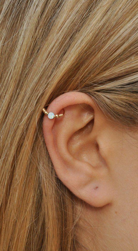 d146b33ebf451 Withe Opal Cartilage Earring - Gold Cartilage Hoop - Cartilage ...