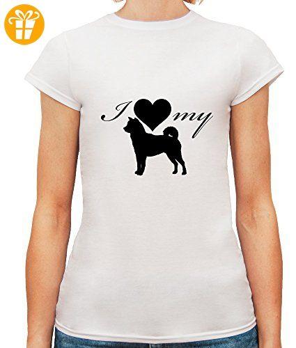 Damen T-Shirt mit I Love My Husky Dog Breed Illustration print. Rundhalsausschnitt. Medium, Weiß (*Partner-Link)