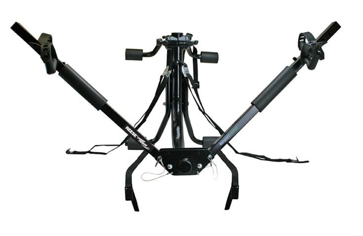 Reese Carry Power (1390400) SportWing Trunk Mount Bike Rack. Holds two bikes any shape and style. Adjustable to fit both adult and children's bikes. Bikes are supported by their wheels and are held level and secure. Six straps provide stability on the road and no adapter bar needed to carry bikes without horizontal top tubes. Fits most cars, vans and SUVs without spoilers.