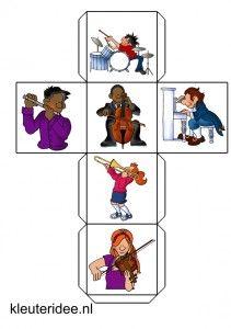 verteldobbelsteen muziek 1, kleuteridee.nl, free printable