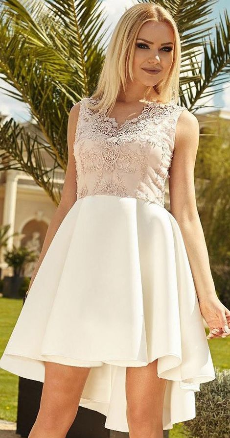 Ivory High Low Hoco Dress V Neck Lace Applique Plus Size Homecoming