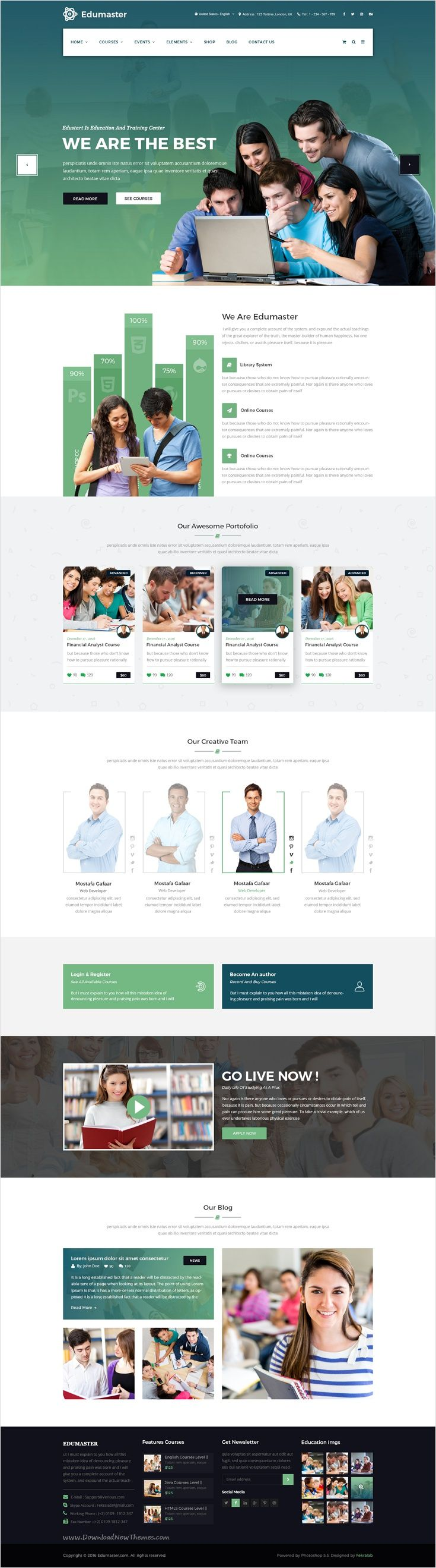 Edumaster is a wonderful #PSD #template for #Educational Institutions #edtech like Universities and Colleges, Online Courses / Online Learning website download now➩ https://themeforest.net/item/edumaster-education-learning-psd-template/18475308?ref=Datasata