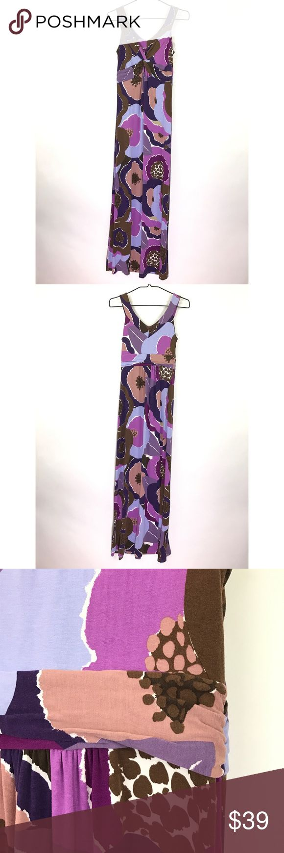 "Boden sleeveless maxi dress Floral print Sz 6 559 Boden Sleeveless Maxi Dress Floral Print Purple & Brown Women's Size 6 Long   Measurements: Bust:  15"" Flat Across has some stretch it's a jersey knit Waist:  12"" Flat Across has some stretch it's a jersey knit Length:  56""  Long  In good preowned condition with no known flaws and light overall wear. Boden Dresses Maxi"