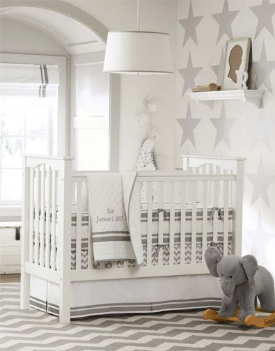 Gray and white nursery with stars and chevron- love the elephant rocker
